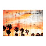 "Orange Palm Forest Painting Print // Canvas (18""W x 12""H x 1.5""D)"