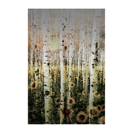 "Forest Daisies Painting Print // Brushed Aluminum (12""W x 18""H x 1.5""D)"