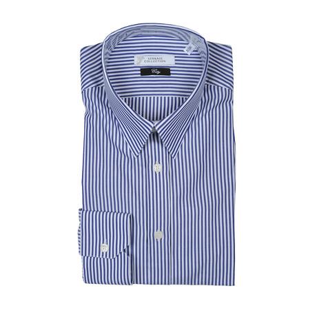 Thick Stripe City Fit Dress Shirt // Dark Blue