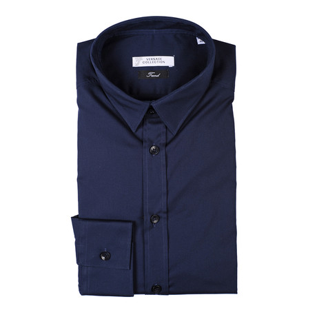 Solid Trend Fit Dress Shirt // Navy (38)