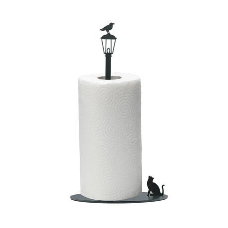 Cat Vs. Crow // Paper Towel Holder (Black)