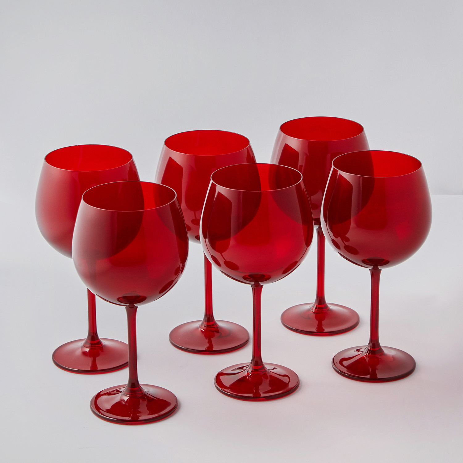 Colored Red Bohemian Wine Glasses // Set of 6 - The ...