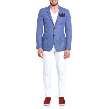 17304 Tweed Surface Blazer // Blue