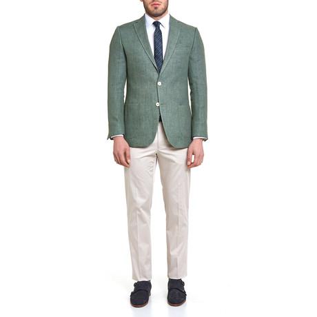 16129 Yaz Platinum Basketweave Blazer // Green
