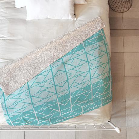 Shifting Pyramids Cyan // Fleece Throw Blanket