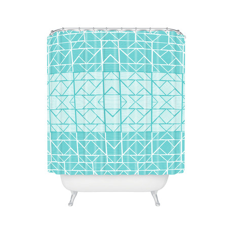 Shifting Pyramids Cyan // Shower Curtain