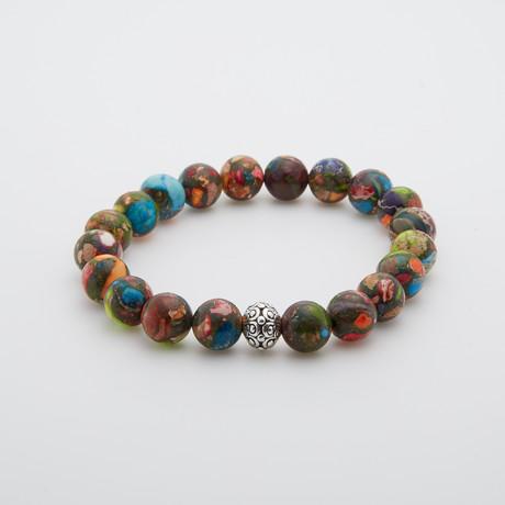 Mardi Gras Jasper + Silver Oasis Bracelet