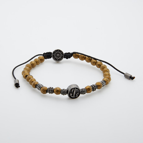 Gunmetal Anchor Beaded Bracelet // Bronze