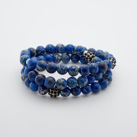 Double Wrap Emperor Stone Bracelet // Blue + Aqua