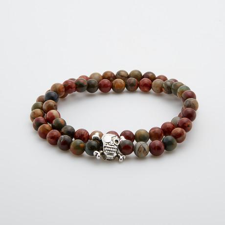 Pirate Skull Double Wrap Jasper Bracelet // Multicolor