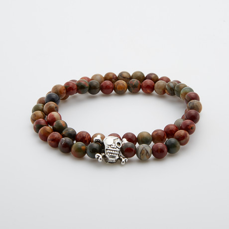 Jean Claude Jewelry // Pirate Skull Double Wrap Jasper Bracelet // Multicolor