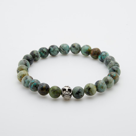 African Turquoise + Stainless Steel Skull Beaded Bracelet // Green