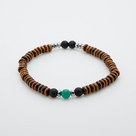 Tiger Eye + Roundel Stone Bracelet // Brown