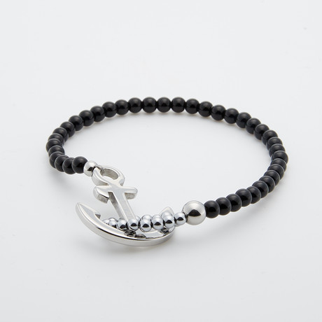 Onyx + Stainless Steel Beaded Bracelet // Black + Silver