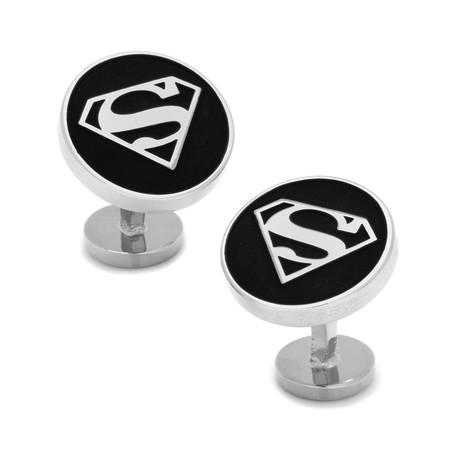 Round Black Superman Shield Cufflinks