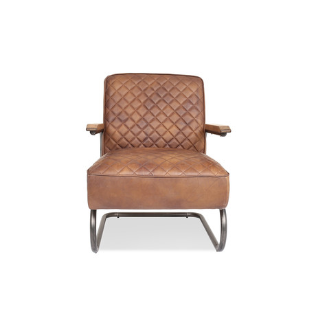 Hudson Industrial Leather Lounge Chair