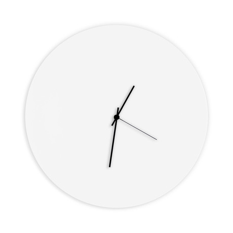Whiteout Circle Clock // Black Hands (Small)