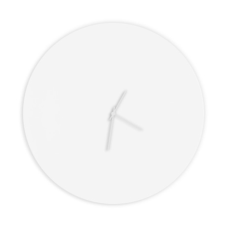 Whiteout Circle Clock // White Hands (Small)