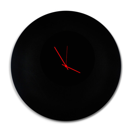 Blackout Circle Clock // Red Hands (Small)