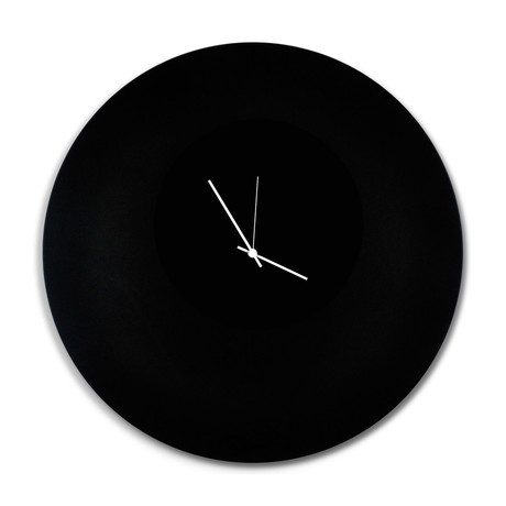 Blackout Circle Clock // White Hands (Small)