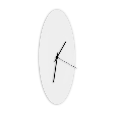 Whiteout Ellipse Clock // Black Hands (Small)