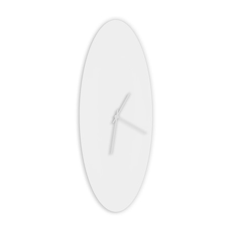 Whiteout Ellipse Clock // White Hands (Small)