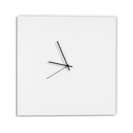 Whiteout Square Clock // Black Hands (Small)