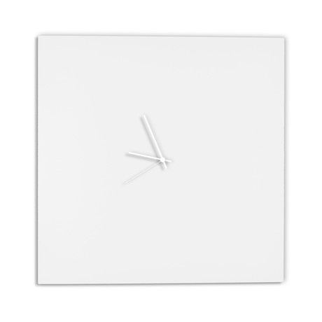Whiteout Square Clock // White Hands (Small)
