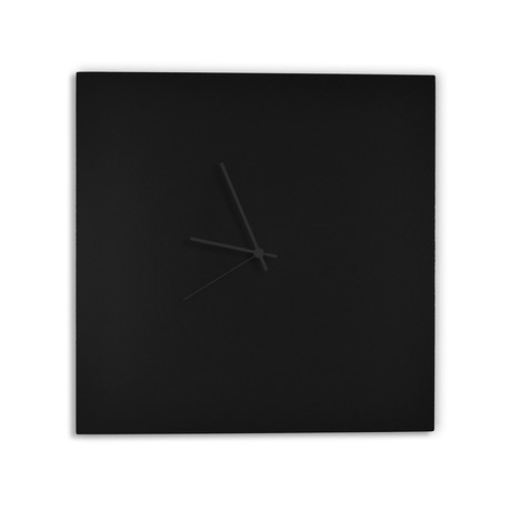 Blackout Square Clock // Black Hands (Small)