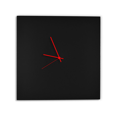 Blackout Square Clock // Red Hands (Small)