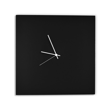 Blackout Square Clock // White Hands (Small)