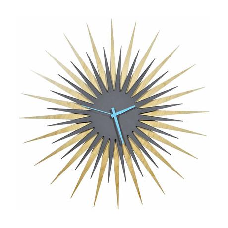 Atomic Era Clock // Maple Gray (Blue Hands)