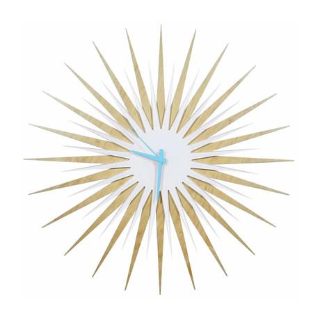 Atomic Era Clock // Maple White (Gray Hands)