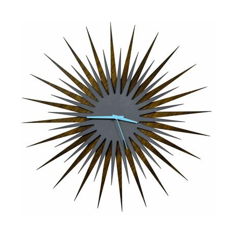 Atomic Era Clock // Walnut Gray (Blue Hands)