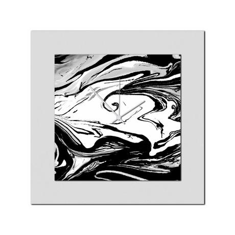 Black + White Swirl Clock