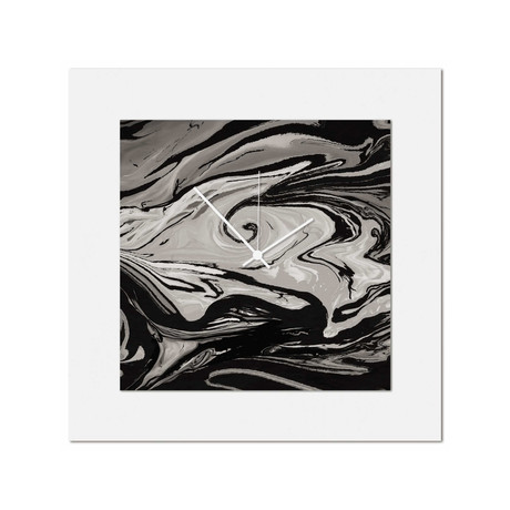 Gray + Black Swirl Clock