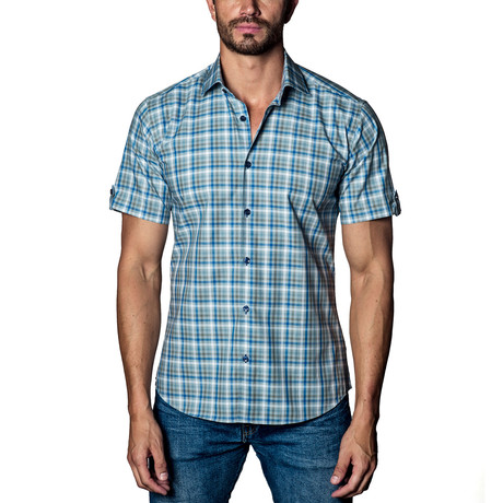 Plaid Woven Button-Up // Blue + Grey (S)