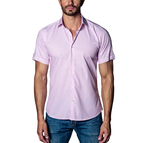 Woven Short Sleeve Button-Up // Pink Stripe (S)