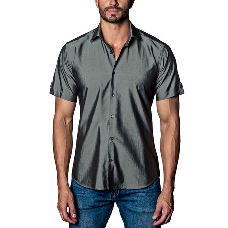 Sheen Woven Button-Up // Charcoal (S)
