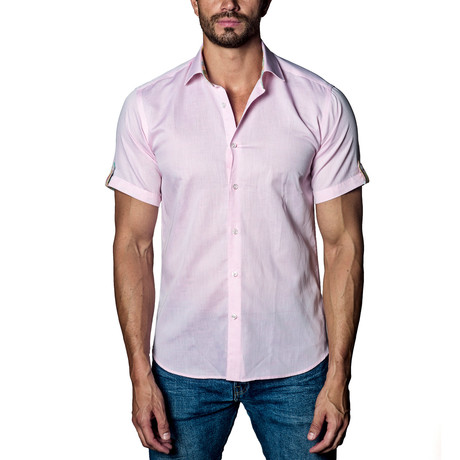 Textured Woven Button-Up // Light Pink (S)