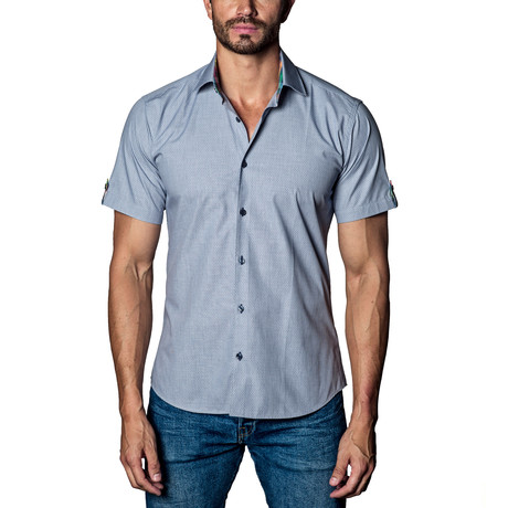 Printed Short Sleeve Shirt // Grey (S)