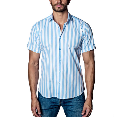 Bold Striped Woven Button-Up // White + Blue (S)