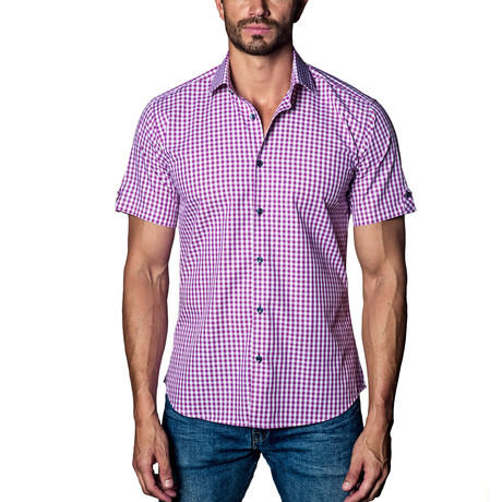 Checkered Woven Button-Up // Purple (S)