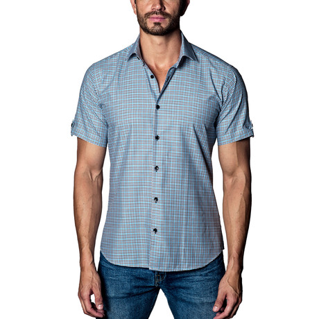 Gingham Short Sleeve Shirt // White + Blue + Black (S)