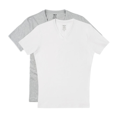 Essential Cotton Stretch V-Neck // 2-Pack // White + Metro Grey (S)