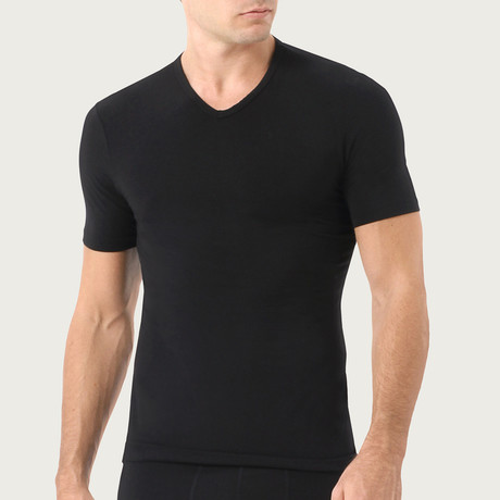 Essential Cotton Stretch V-Neck // 2-Pack // Black + Metro Grey (S)