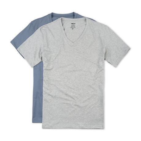 Essential Cotton Stretch V Neck // 2-Pack // Metro Grey + Dusk Blue (S)