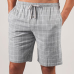 Plaid Double Gauze PJ Short // Metro Grey (S)
