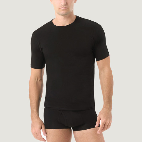 Essential Cotton Stretch Crew Neck // 2-Pack // Black (S)