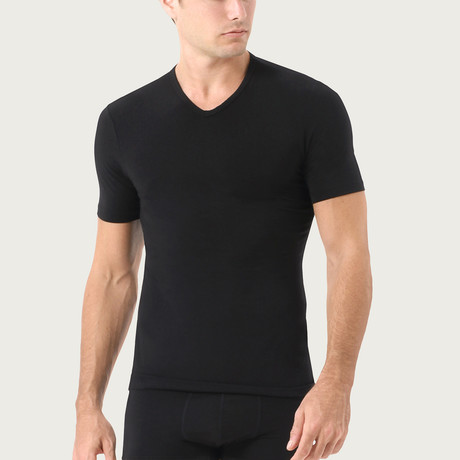 Essential Cotton Stretch V-Neck // 2-Pack // Black (S)